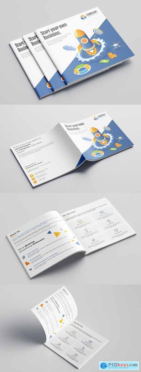 Blue and White Bifold Business Brochure Layout with Illustrations 317553110