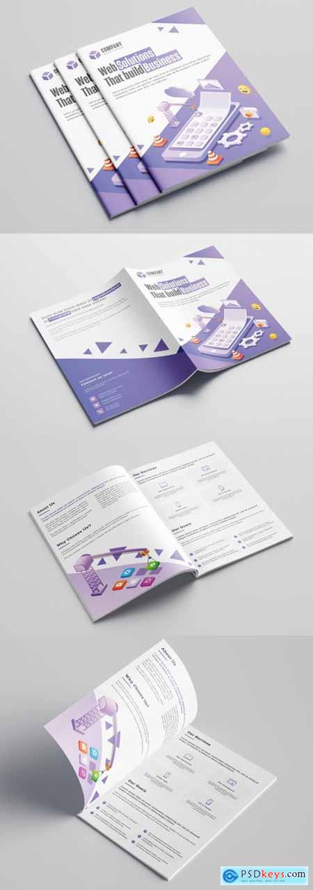 Purple and White Bifold Business Brochure Layout with Illustrations 317547080