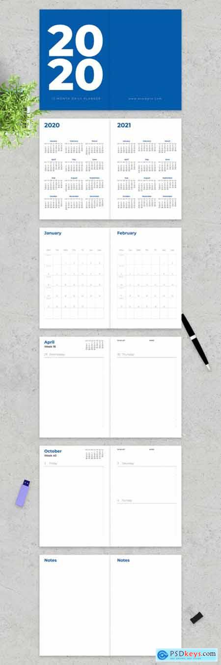 2020 Classic Twelve Month Daily Planner Layout 317764107