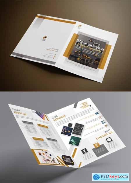 Bifold Brochure Layout with Gold and Gray Accents 317547396