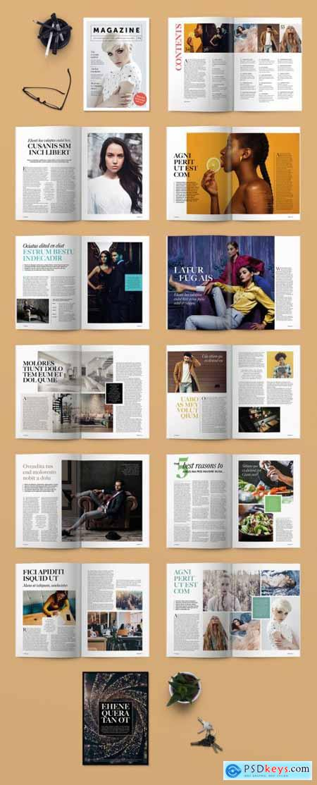 Magazine Layout with Colorful Accents 246890285