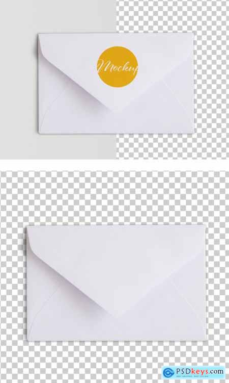 White Envelope Top View Mockup 317591725