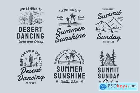 6 Nature Vintage Badges