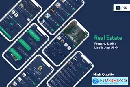 Real Estate & Property Mobile App Dark Version