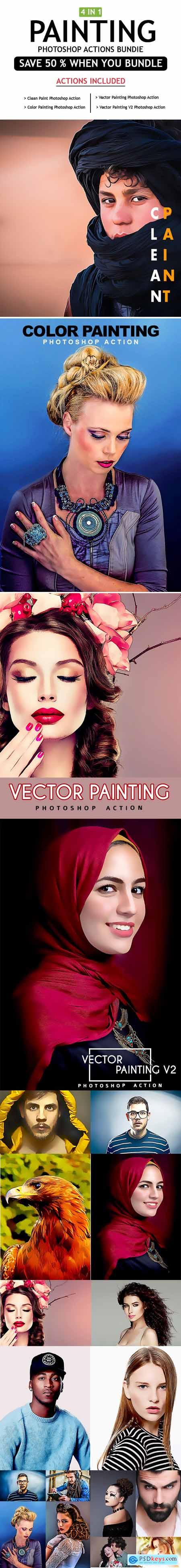 Painting 4 IN 1 Photoshop Actions Bundle 25490966