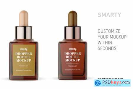 Square amber dropper bottle mockup 4360072