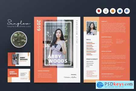 Creative CV Resume & Name Card Pack PSD, DOCX, AI