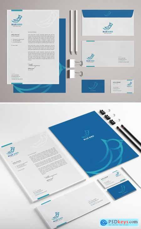 Blue and White Stationery Set with Bird Illustrations 318704902