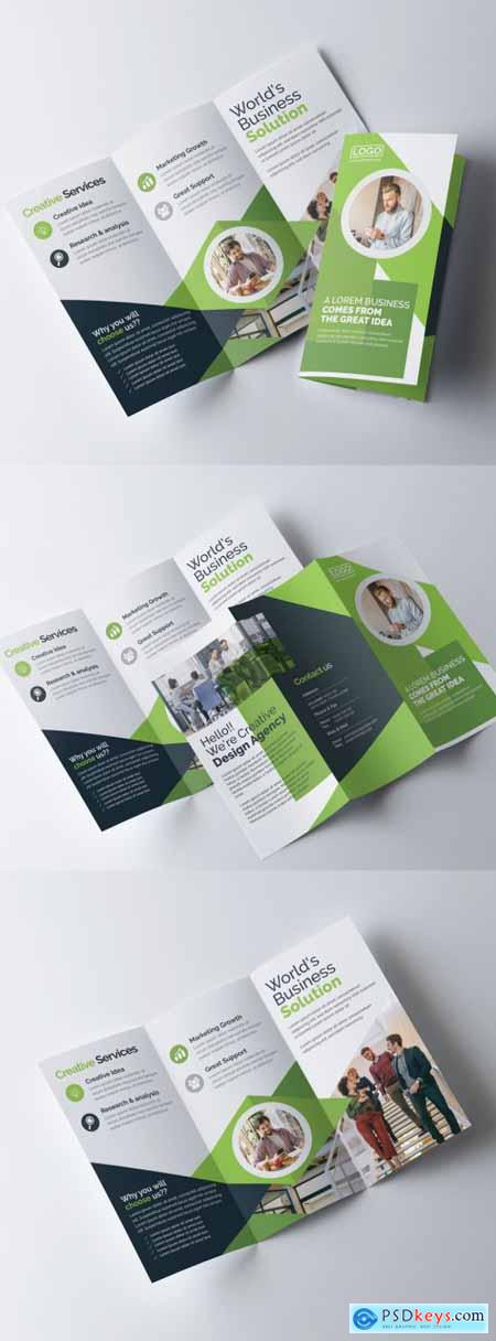 Green Trifold Brochure Layout 317788367