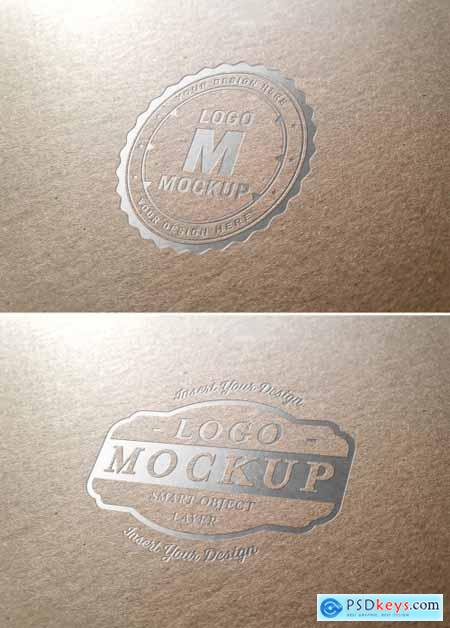 Metallic Logo Mockup on Cardboard Texture 318694232