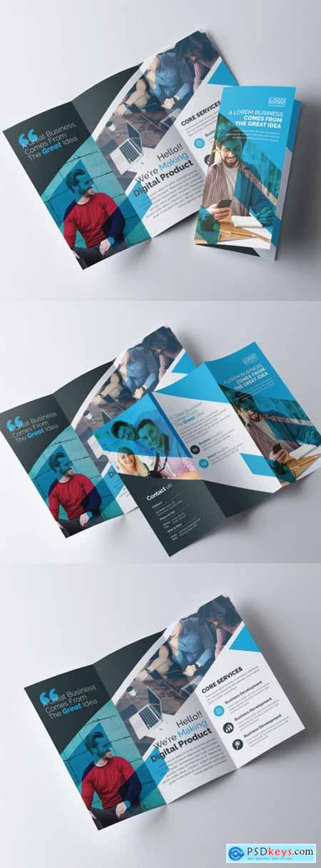 Corporate Blue Trifold Brochure Layout 317788412