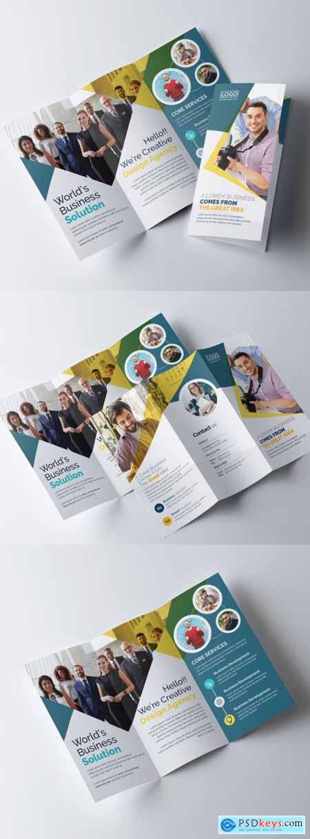 Trifold Brochure Layout with Multiple Color Accents 317788266