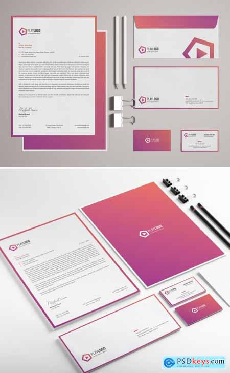 Pink Gradient Stationery Set with Abstract Logo Illustration 318705144