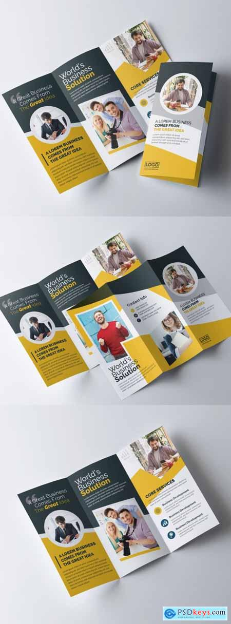 Trifold Brochure Layout with Orange Color Accents 317788268