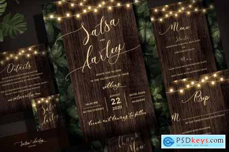 String Light Wedding Invitation Set