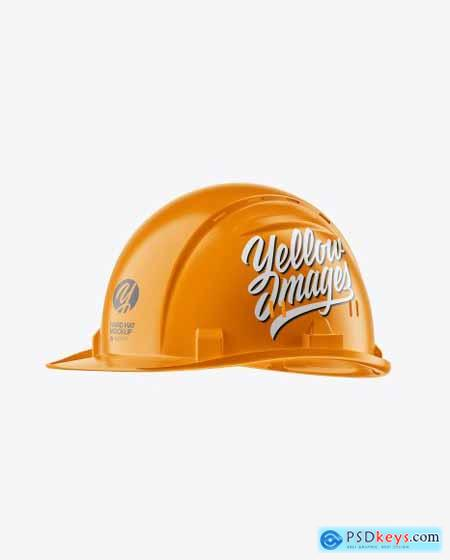 Glossy Hard Hat Mockup - Half Side View 54688