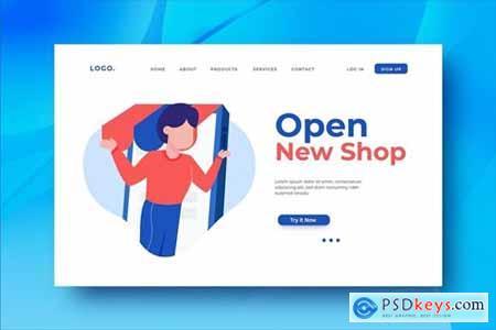 Open New Shop Landing Page Illustration