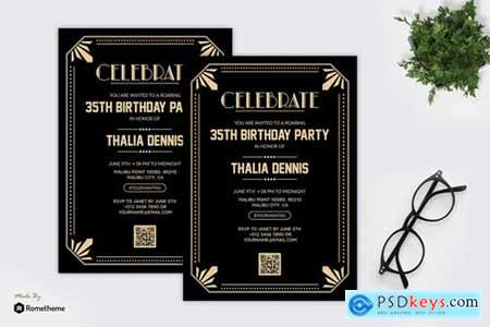 Birthday Party - Gatsby Theme Party Flyer RB