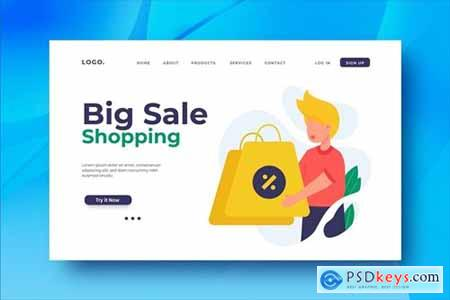 Big Sale Shopping Landing Page Illustration