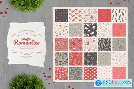 Romantica Set of 25 cute seamless patterns