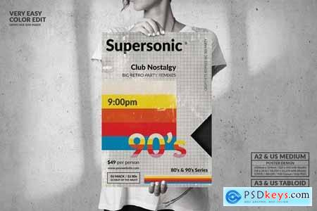 Supersonic 90s Big Poster Design - Music Event