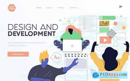 Landing page template on various topics