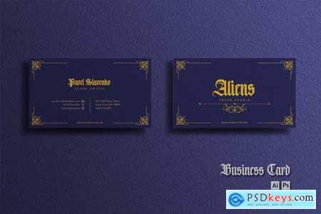 Business Card - Vintage Blue Gold