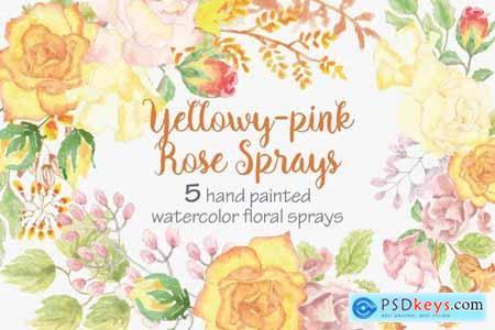 Yellowy-pink Rose Sprays Set of 5