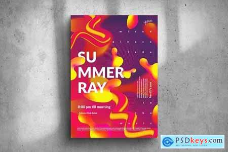 Summer Ray Party Big Poster Design