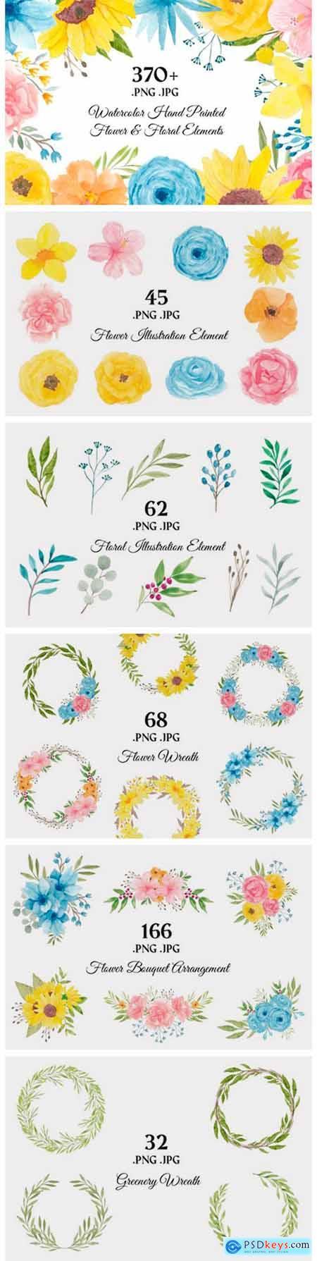 373 Flower Floral Watercolor Clip Art 2661879