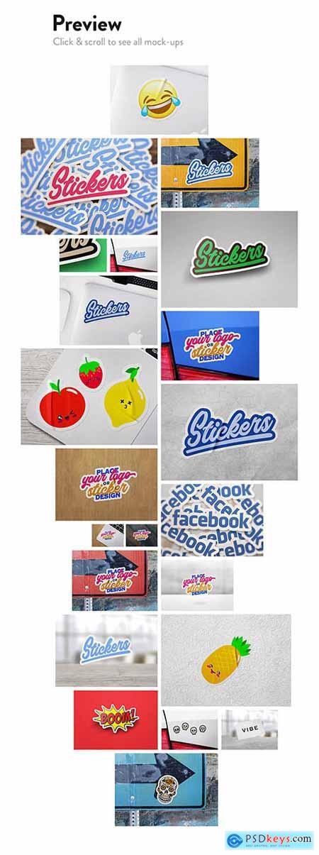 8 Sticker & logo mock bundle 2410625