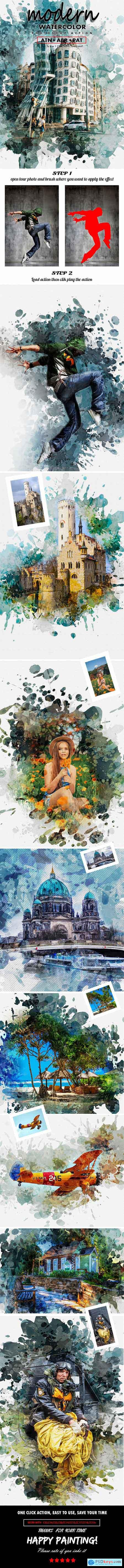 Modern Watercolor Photoshop Action 25435037