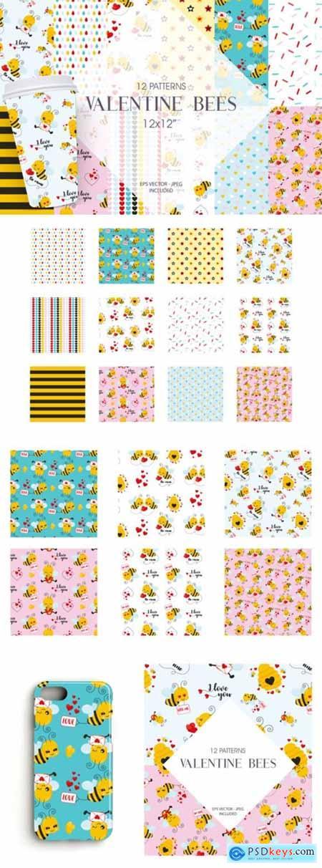Valentine Bees Digital Paper 2643030