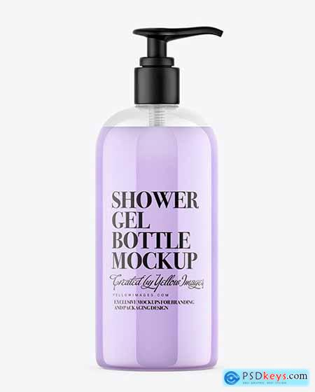 Shower Gel Bottle with Pump Mockup 54708