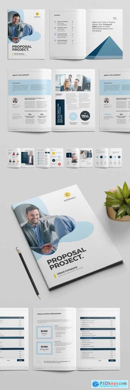 Project Proposal Layout with Blue Abstract Blue Elements 319843405