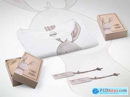Kids T-Shirt with 2 Boxes and Paper Tags Mockup 319877720