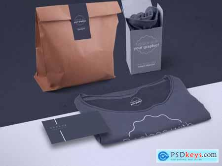 T-Shirt Packaging and Business Card Mockup 319878511