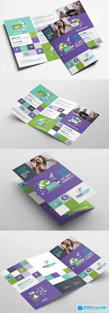 Purple and Green Trifold Brochure Layout 319811489