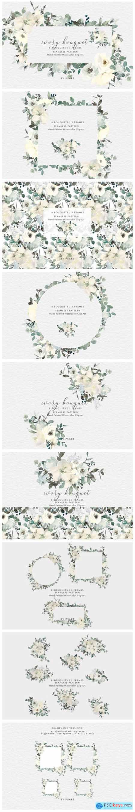 Ivory Watercolor Bouquets Frames Pattern 2687482