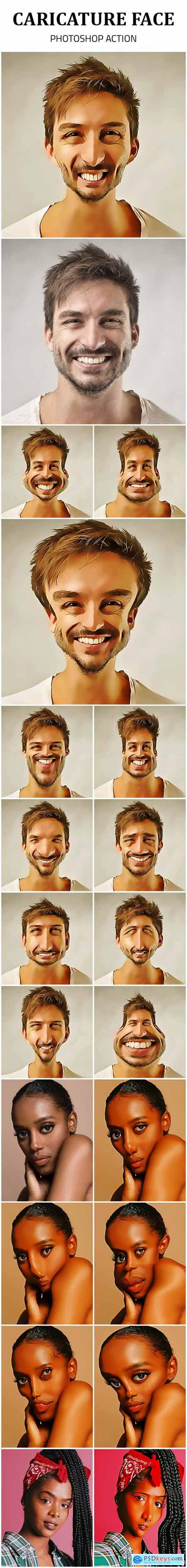 Caricature Face Photoshop Action 25590885