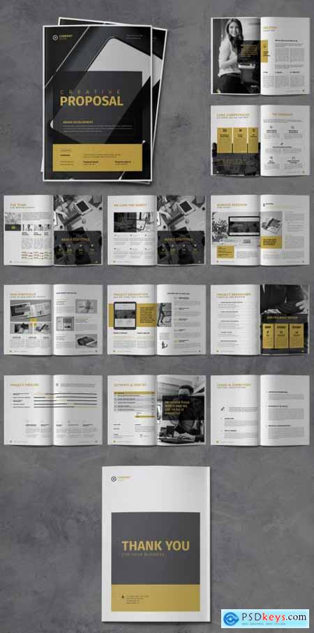 Proposal Business Brochure Layout with Gold Accents 320384812