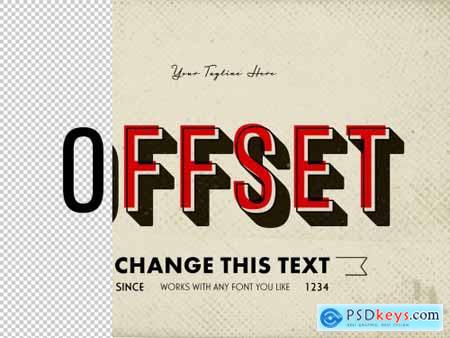 Retro Offset Text Effect Mockup 320383159