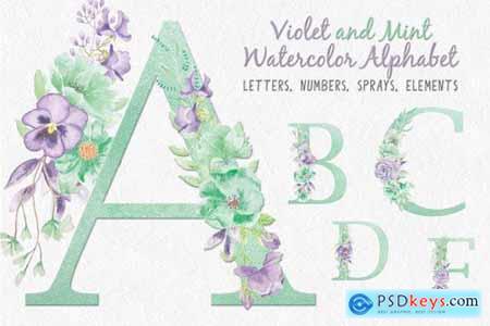 Violet and Mint Floral Alphabet