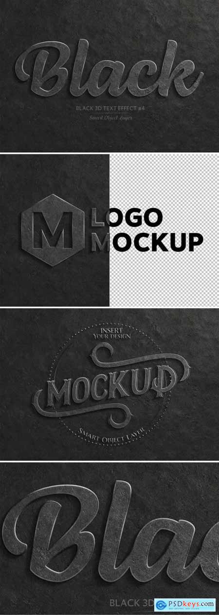 Black 3D Text Effect Mockup 320457800