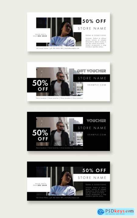 Black and White Gift Voucher Layout Set 320645622