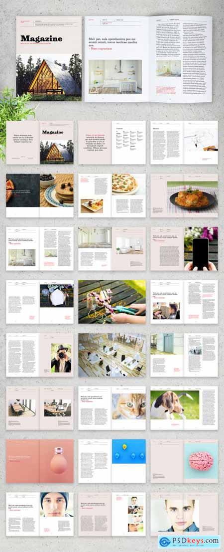 Magazine Layout with Orange Accents 320627320