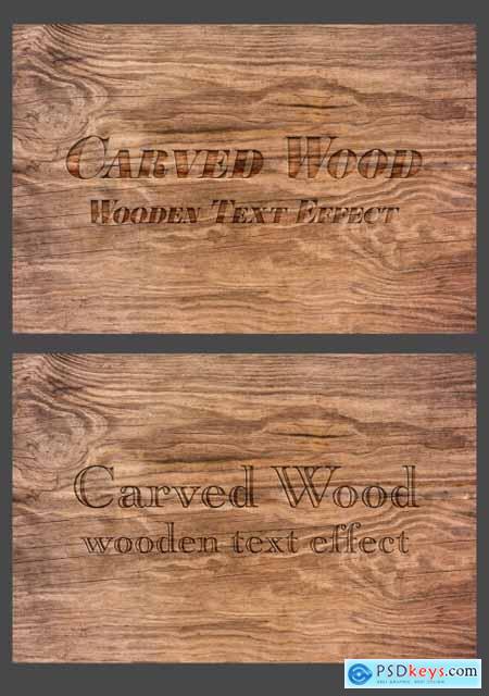 Wood Text Effect Mockup 320458789