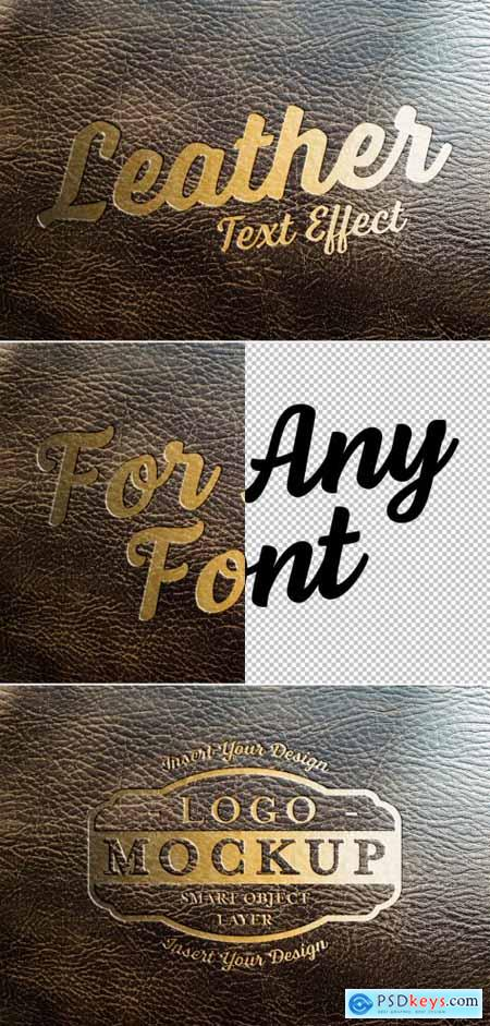 Golden Text Effect on Leather Mockup 320457615