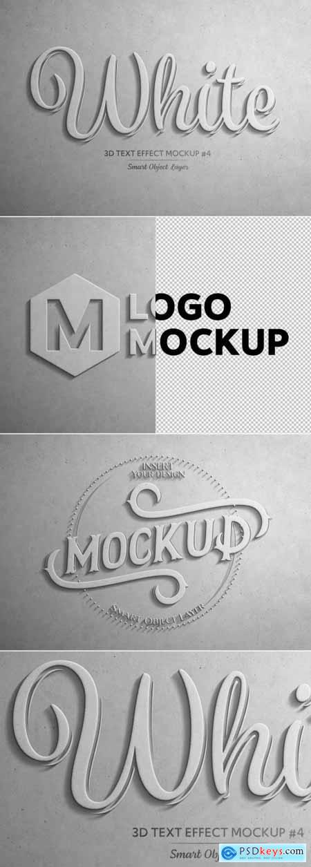 White 3D Text Effect Mockup 320457418