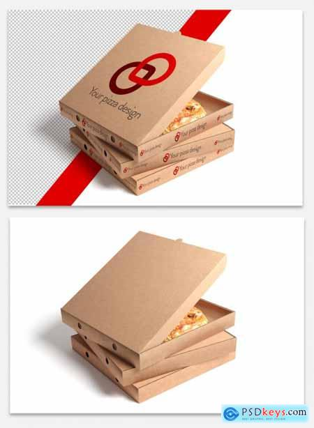 3 Stacked Pizza Boxes Mockup 320883161